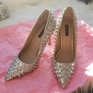 Silver Glitter Studded Pumps